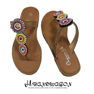 【H.BANDWAGON】民族風彩色圓圈串珠平底T字夾腳拖鞋 涼鞋