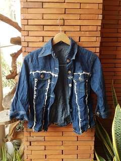 SALE Denim Jacket Tattered Ripped