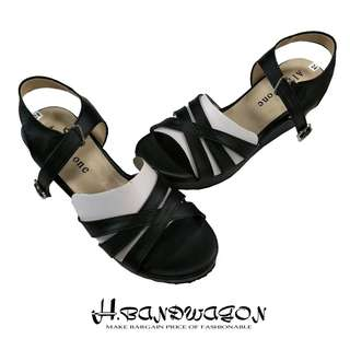 【H.BANDWAGON】時尚簡約交叉線條勾扣繫踝厚底涼鞋