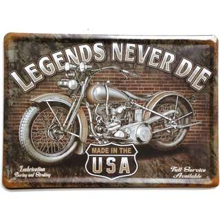 "Vintage Reproduction American Motorcycle Advertising Tin Sign: Legends Never Die ""Made In The USA"" Measurements: 21cm x 15cm"