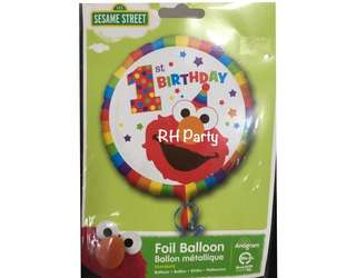(13/6) Include helium Happy birthday Sesame Street / Elmo First / One birthday Foil Balloon (Colourful rainbow striped )