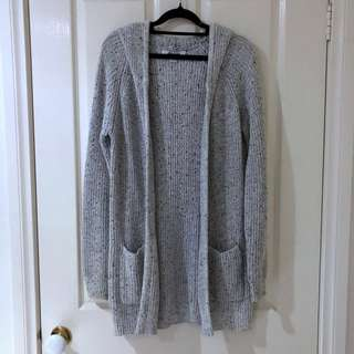 (S) Salt and Pepper Knit Cardigan with Hoodie