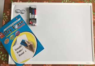 Whiteboard with Markers, and whiteboard sheets