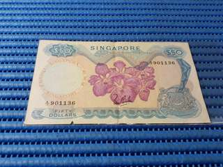 Singapore Orchid Series $50 Note A/10 901136 Dollar Banknote Currency LKS