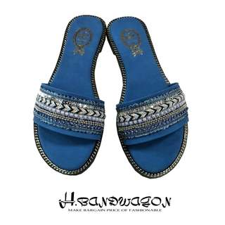 【H.BANDWAGON】波希米亞寬帶多層編織珠鍊一字平底拖鞋 涼鞋