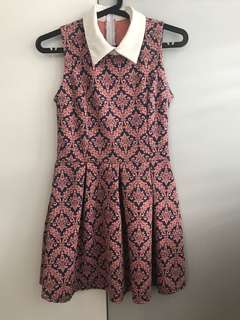 Pink Printed Collared Dress