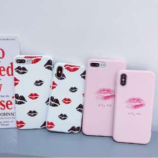 (W)手機殼IPhone6/7/8/plus/X : 唇唇相印全包邊軟殼