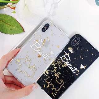 (W)手機殼IPhone6/7/8/plus/X : 金箔狗狗閃粉底全包邊透明軟殼