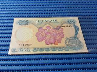 Singapore Orchid Series $50 Note A/48 256960 Dollar Banknote Currency