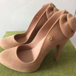 ‼️PRICE REDUCED‼️ Melissa Incense Bow Back Nude Suede Velvet