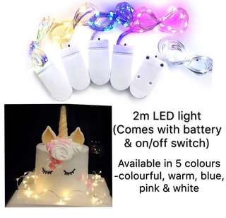 (9/5) 2m LED fairy lights for cake decorations/ dessert table setup / party deco/ party supplies (include battery)