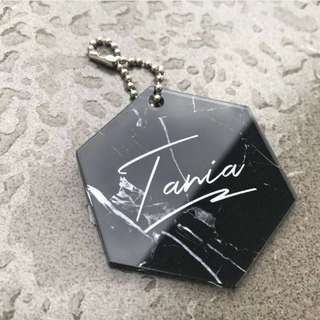 CUSTOM BAG TAG hexagon marble