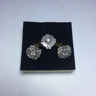 3pc Real Diamonds Ring and Earrings Set