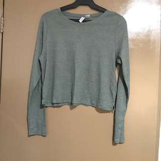 H&M Army Green Ribbed Cropped Top