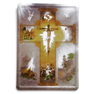 Collectible Catholic Christian Devotional Tin Pictorial Display: The Life of Jesus Christ (Measurements: 21cm x 15cm)