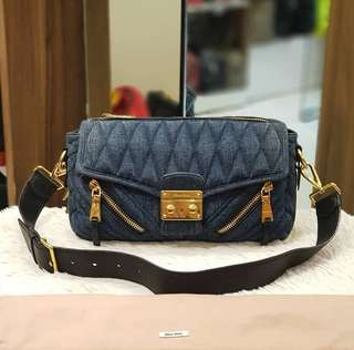 Miu Miu Denim Quilted Shoulder Bag ❤️MARK DOWN SALE P32k ONLY❤️ ✖️✖️P36k✖️✖️ Barely used. Good as bnew With dustbag  Swipe for detailed pics  Cash/card/layaway accepted