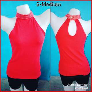 Red turtle neck sexy blouse sleeveless