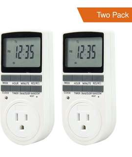 (179) Comforday Digital Timer 2 Pack 15A/1800W 7 Day Programmable, 3 Prong Outlet, Smart Socket Plug in,