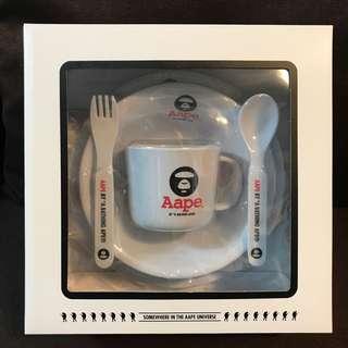 aape餐具套裝小童膠碗碟差叉匙羹杯