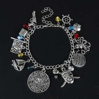 dongsheng Pirates Of The Caribbean Charm Bracelet Jack Sparrow Aztec Coin Medallion Bangle Bracelet Women Girl Halloween Gift-25