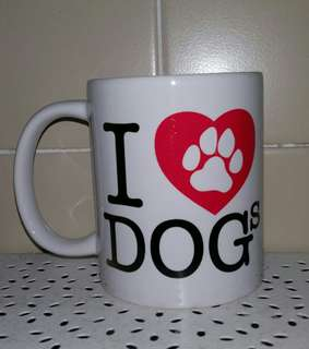 New Unused Ceramic I Live Dogs Mug