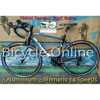 Brand New Trinx Road Bikes : Tempo 700C Racer Bicycles ✩ Shimano 14 Speeds ✩ Aluminium, light weight