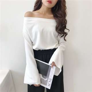 White Off Shoulder Bell Sleeve Top