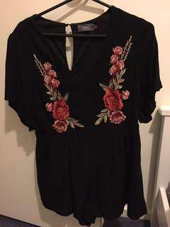Black play suit with roses