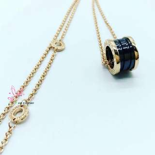 Bvlgari 18k Rose Gold Necklace with Black Ceramic