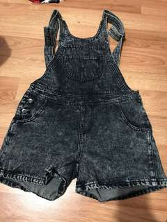 REDUCED Boohoo black acid washed denim overalls