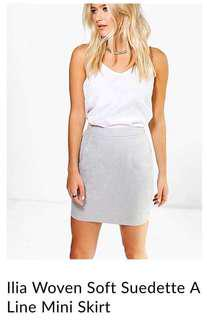 Grey suede boohoo skirt