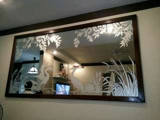 Glass Etching mirror wall decor painting