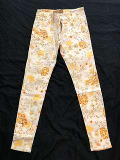 Zara Trafaluc Yellow Floral Skinny