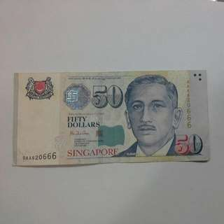 Singapore $50 0AA First Prefix Note