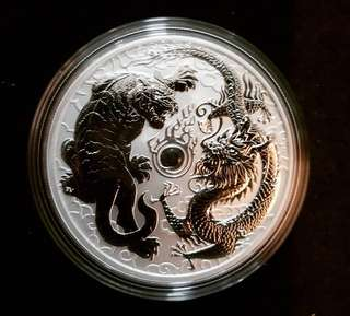 2018 Perth Mint Tiger & Dragon 1 oz silver coin
