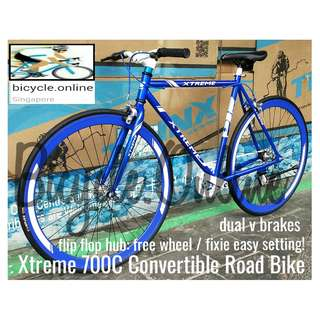 "700C Convertible Road Bike / Fixie ☆ 19.5"" Frame ☆ Flip Flop Hub: Convert Fix Wheel or Free Wheel as you wish! ☆ Brand New Bicycle, Xtreme *Taiwan"