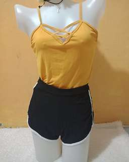 Mustard criscross crop top