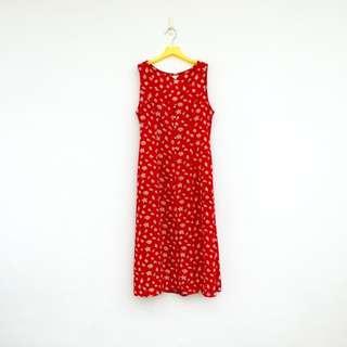🚚 二手 紅色 印花 排扣 綁帶 洋裝 明太子 613