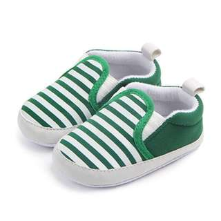 🚚 Instock - green stripe crib shoes, baby infant toddler girl children spring summer 2018 collection