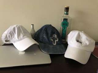 LACOSTE, RVCA, STUSSY HATS $30 each