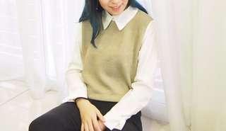 Fake two-piece collar blouse