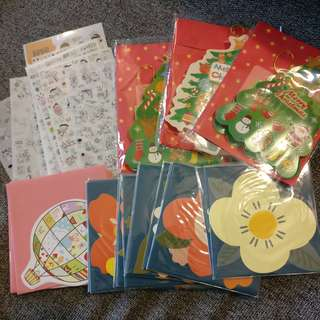 All for $12 - Korean cute stickers / korean cute cards / flower cards / Christmas cards