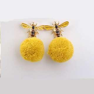 Yellow bee Pom Pom fur ball earring