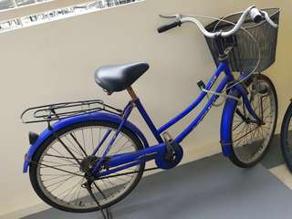 Basic blue bicycle with basket