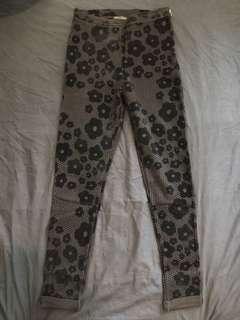 Topshop Suede Black Floral Black Pant