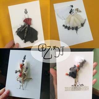 Handmade dried flower gift card 手工干燥花卡片