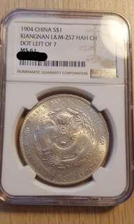 China 1904 Kiangnan UNC dragon dollar
