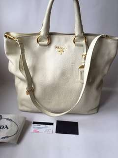 Authentic Prada BN1713 Vitello Daino Bianco Soft Calf Leather Shopper Tote Bag