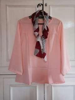 Peach blouse free scarft ❤