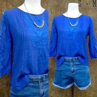 Embroidered Blue Top